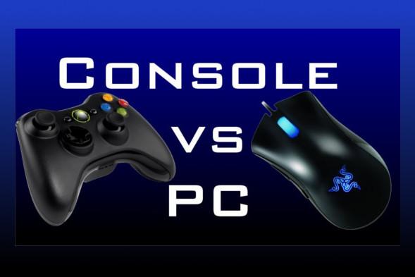 Grafika symbolizująca walkę między konsolami a komputerami do gier