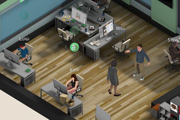 Screen z gry polegającej na symulowanym tworzeniu innych gier w wirtualnym studio, użyty na potrzeby artykułu