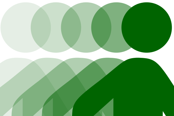 Grafika przedstawia ruch ku prawej stronie wykonywany przez zielonego stickmana